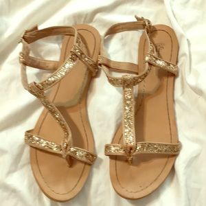 ZaraTrf sandals tan leather with gold sequins
